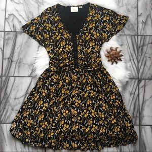 Maeve Black Yellow Floral Corset Style Midi Dress